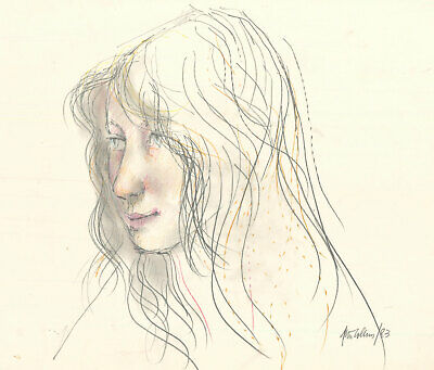Peter Collins ARCA - Signed 1983 Graphite Drawing, Profile of a Young Woman