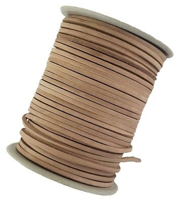 Natural leather cord lace 3 mm Square sold in lengths of 2,3,4,5, metres