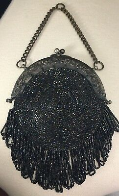 ANTIQUE CHATELAINE MICRO BEADED COIN PURSE Art Nouveau Style c. Late 1800s-1900s