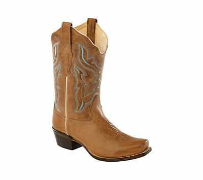 3c145cb9dc3 OLD WEST LIGHT Brown Leather Snip Toe Cowboy Boots Womens Sz 7.5 M ...