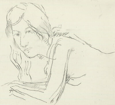 Peter Collins ARCA - c.1970s Charcoal Drawing, Portrait of a Young Lady