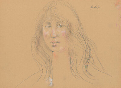 Peter Collins ARCA - Signed 1980 Crayon, Portrait of a Young Woman