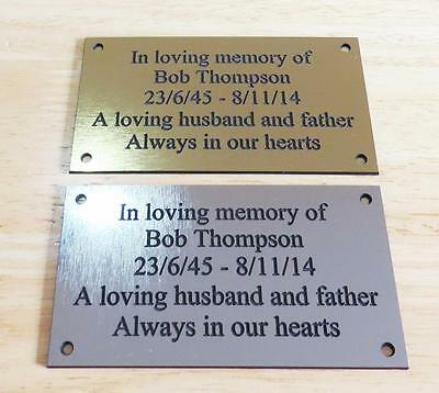 "Brass/Silver Effect Personalised Engraved Memorial Plaque 11cm x 6cm (4.3""x2.4"")"