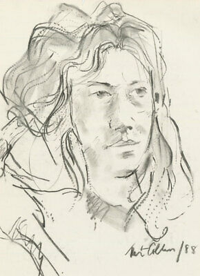 Peter Collins ARCA - Signed 1988 Charcoal Drawing, Portrait of a Young Woman