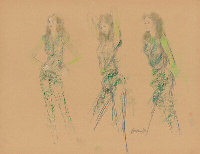 Peter Collins ARCA - Signed 1980 Pastel, Model in Green