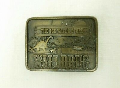 "Vintage Wall Drug ""The Ice Water Store"" Belt Buckle Brass Indiana Metal Craft"