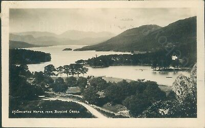 Coniston water from beacon crags c1931 real photo GP Abraham