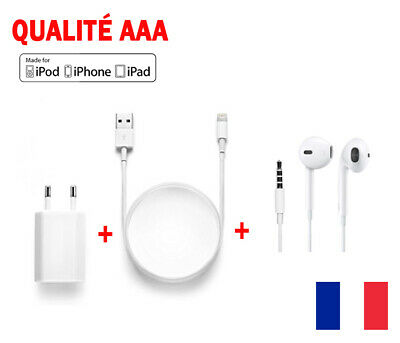 chargeur iphone + ecouteur + Chargeur secteur iPhone 5/5s/6/6+/6s/6s+ iPad