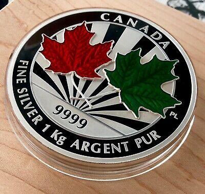 2014 Canada $250 Dollars 1 Kilo 9999 Silver Coin - Maple Leaf Forever Enamelled