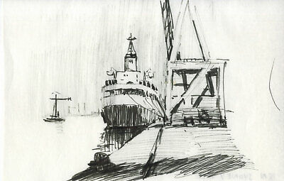 Sydney Vale FRSA - Mid 20th Century Pen and Ink Drawing, Docked Ship