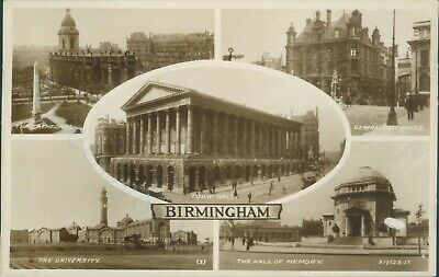 Birmingham 5 views real photo General post office, cathedral valentine