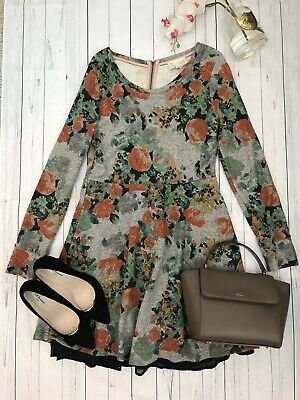 Saturday Sunday Size M 10 12 Anthropologie floral skater long sleeve cosy warm