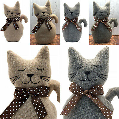 Warm Fabric Heavy Weight Cat Door Stop | Doorstops | Grey Or Brown