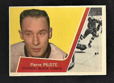 1963 Topps #25 Pierre Pilote Vintage Chicago Black Hawks NHL Hockey 1963-64