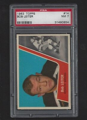 1963 Topps #14 Bob Leiter, PSA 7 NM, Boston Bruins Vintage NHL Hockey 1963-64