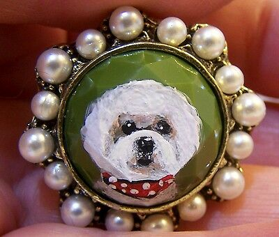 hand painted Bichon Frise Silver Glass simulated pearl ring,one size fits most