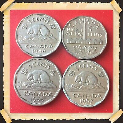 Canada 1957 5 Cent Nickel Coin IDJ303.