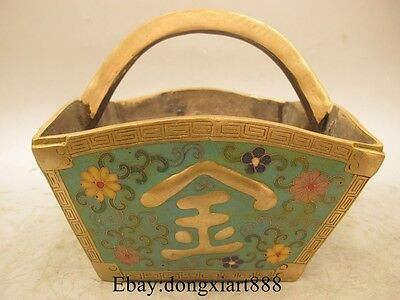 """8"""" Old Chinese Cloisonne Bronze Gilt Flower Basketful Contest With Denounce"""