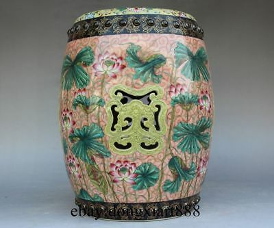 "12"" Chinese Ancient Wucai Porcelain Pottery Lotus Flower Round Drum Garden Stool"