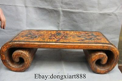 "23"" Qing China Wood Lacquerware Deer Crane Bird Tree Table Desk Statue"
