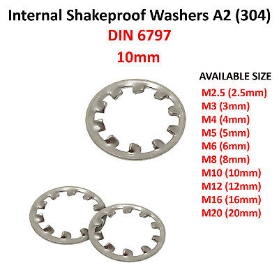 M12 Internal A2 Stainless Stl Packs 12mm M10 10mm SHAKEPROOF WASHERS