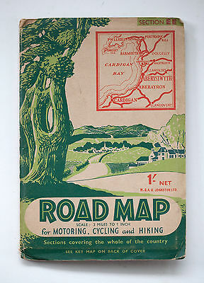 Vintage Aberystwyth and Cardigan Bay Road Map for Motoring Cycling and Hiking