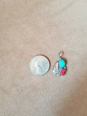 Vintage Old Pawn Navajo Turquoise & Red Coral Squash Blossom Sterling Pendant
