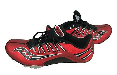 14b114d3 SAUCONY MENS VELOCITY Track Shoes Cleats Black Red Size 9.5 New ...