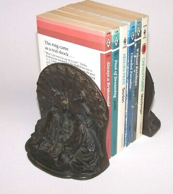 Antique Signed Bronze Asian Art Deco Bookends Vintage