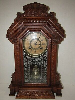 Antique Ansonia Kitchen Clock, Time/Strike, 8-Day, Key Wind