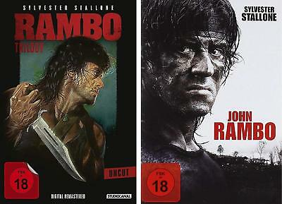 komplett - RAMBO Teil 1 2 3 4 Sylvester Stallone 4 DVD BOX Collection Neu
