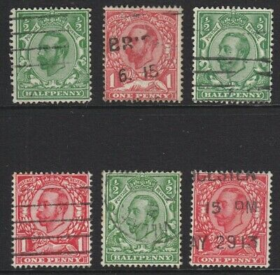 1911/1912 Kgv First Issues ( Machenials ) X 6 Different Used