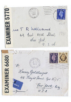 Great Britain Lot of 2 1941 Censor Covers to USA Liverpool Paddington #248 239-4
