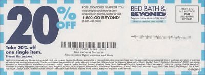 (35) Bed Bath & Beyond 20% off single item in-store/online Cpns - SHIPS FREE!