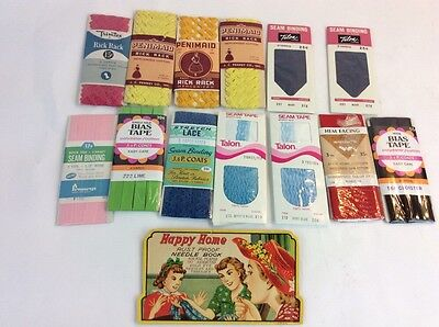 Vintage Happy Home Needle Book Lot Bias Tape Rick Rack Lace Seam Binding