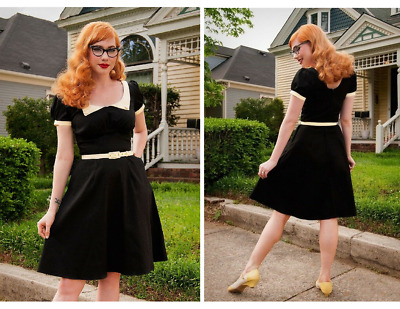 Pinup Couture Dorothy Black Peter Pan Collar Dress Medium Wednesday w/ Pockets!