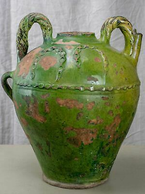 Large 18th Century French water pot with green glaze