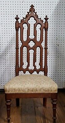 Gothic Revival Chair Carved Walnut - Low Upholstered Seat - Antique