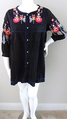 Velzera Boho Embroidered Floral Baby Doll Tunic Dress Black Plus 1XL 2XL 3XL New
