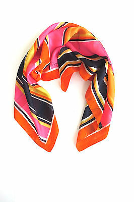 Vintage Pink Orange Black Yellow White Stripes Scarf by Symphony Summer Fashions
