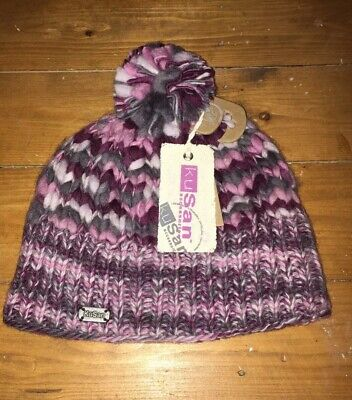 91d08af4d75 NEW KuSan 100% Wool Ladies Bobble Pom Pom Chunky Knit Pink Grey And White  Hat
