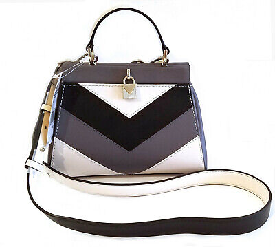 14c2c7a0ccfdc2 Michael Kors Gramercy Small Tri-Color Leather Satchel Gray & Cream Handbag