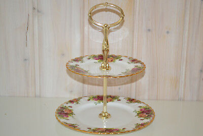 Roal Albert-Bone China-England-Old Country Rose-Etagere-2 Stufige/Zweistöckige-T