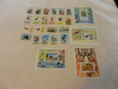 Lot of 25 Grenada Stamps from 1976, 1978 Birds Olympics, Wildlife