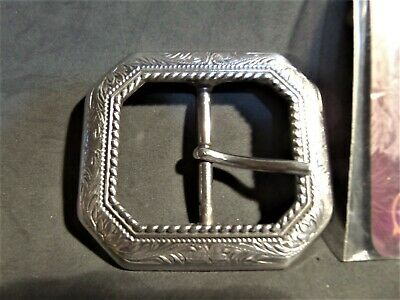 "1 Fancy  1 1/2 "" Tandy Cody Clipped Corner Blk Belt Buckle"