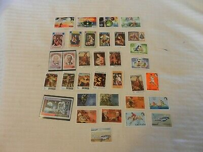 Lot of 34 Grenada Stamps from 1970-1975 Christmas, Paintings, Churchill, WIlson