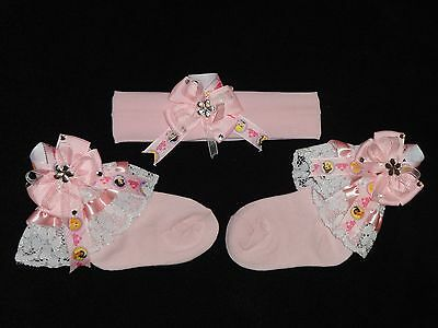 Baby Girls Sparkly Lace Princess Hand Crafted Socks Headband Set 6 - 12 Mths