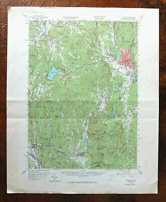 Keene New Hampshire Vintage USGS Topographic Map 1958 Winchester Hinsdale