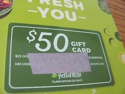 Hello Fresh $50 Gift Card  ~$ 25 OFF FIRST 2 DELIVERIES