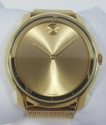 1c533660a Movado Bold Gold Ion Plated Stainless Steel Mesh Bracelet Men's Watch  3600373